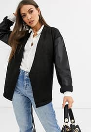French Connection bleather sleeve blazer in black