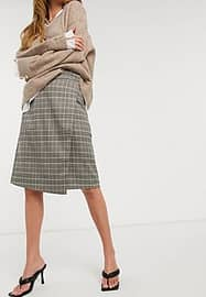 French Connection Check Wrap Skirt-Grey