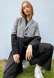 French Connection colourblock coat in black and grey