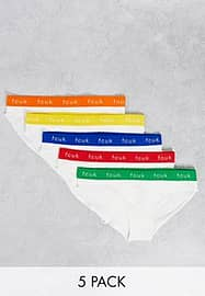 French Connection FCUK 5 pack briefs in white with bright logo waistband-Multi