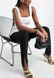French Connection Stephanie slim fit trousers with front slits in black co-ord