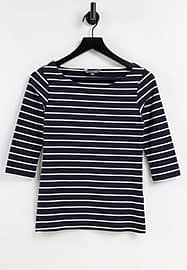 French Connection Tim Tim boat neck top in black-Blue