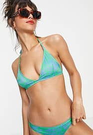 French Connection triangle bikini top in blue and green palm print-Multi