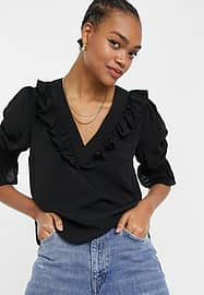 French Connection v neck blouse with frill details in black