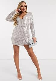Frock And Frill Club allover embellished mini dress in silver