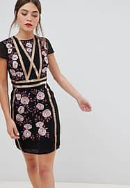 Frock And Frill Frock & Frill short sleeve dress with embroidered panel-Black