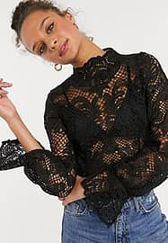 Girl In Mind high neck all over lace sheer crop top in black