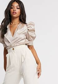 Girl In Mind puff sleeve body in taupe-Neutral