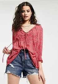 Glamorous ditsy floral blouse in pink