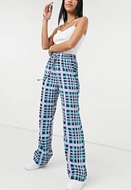 Glamorous relaxed trousers in check co-ord-Purple