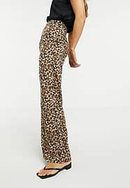 Glamorous relaxed wide leg trousers in leopard print-Multi