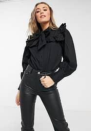 Influence bow neck shirt with broderie detail in black