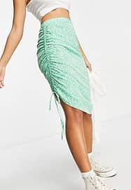 Influence ruched side midi skirt co-ord in ditsy floral print-Green