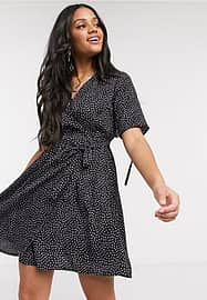 Influence wrap dress with tie sleeve in lilac spot print-Black