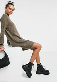 JDY jumper dress with high neck in brown