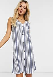 JDY Lucky belted button detail dress-White