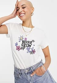JDY organic cotton t-shirt in white with 'never grow up. It's a trap' front and back print