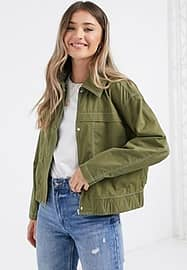 JDY pearl utility cropped jacket in olive-Green