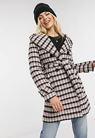 Liquorish hooded coat with tie front in check-Multi