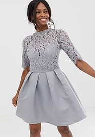 Little Mistress 3/4 sleeve mini skater dress with lace upper-Grey