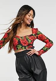 Little Mistress bardot cropped top in floral-Multi
