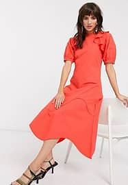 Lost Ink midaxi dress with ruffle shoulder in cotton-Red