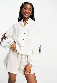 Maison Scotch embroidered top with voluminous sleeves in white