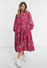 Maison Scotch high neck printed smock dress in pink floral