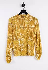 Maison Scotch printed long sleeve t-shirt with gathering detail at sleeves-Yellow