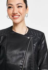 Mango collarless faux leather jacket in black