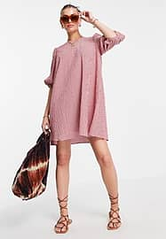 Mango gingham smock dress with puff sleeves in red