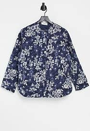 Mango quilted jacket in blue floral