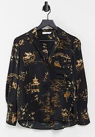 Mango relaxed fit printed shirt in black