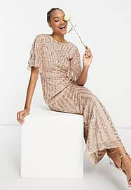 Maya flutter sleeve all over patterned sequin maxi dress in taupe blush-Pink