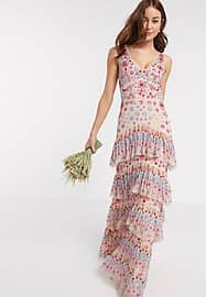 Maya premium contrast embellished ruffle tiered maxi dress in multi