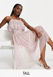 Maya Tall cold shoulder embellished top co ord in frosted pink