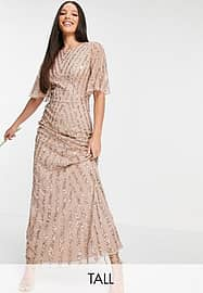 Maya Tall flutter sleeve all over patterned sequin dress in taupe blush-Pink