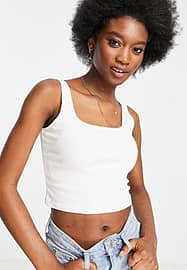 Miss Selfridge sleeveless square neck ribbed crop top in white