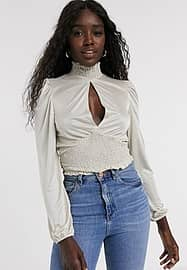 Miss Selfridge top with shirred neck in cream-White
