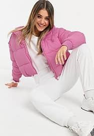 Monki Amber recycled short padded jacket with hood in pink
