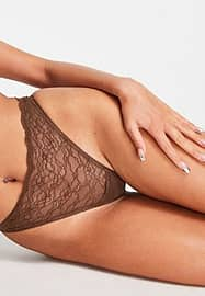 Monki Cherry recycled lace thong in brown