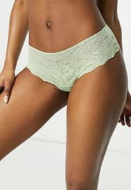 Monki Helle recycled lace hipster thong in dusty green