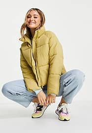 Monki Sue recycled short padded jacket in green-Neutral