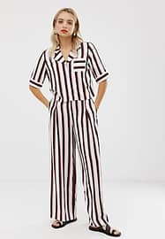 Monki wide leg trousers in black and pink stripe-White