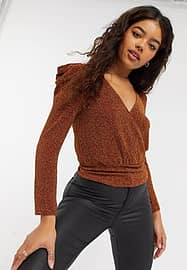 Moon River ruched sparkle bodysuit in rust-Brown