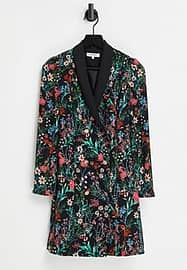 Morgan floral embroidered tux dress in multi