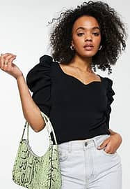 Morgan knitted sweetheart neck puff sleeve top in black