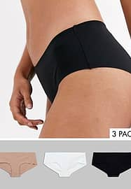 New Look 3 pack no vpl hipster briefs in multi