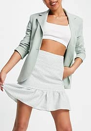 New Look co-ord gingam tiered mini skirt in green