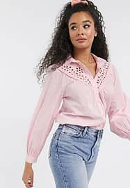 New Look cutwork lace detail blouse in light pink